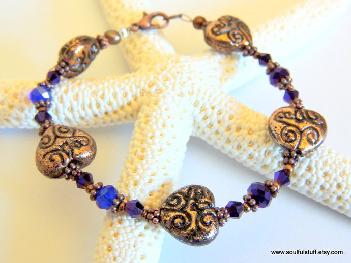 Copper Heart Bracelet, Crystal Jewelry, Copper and Cobalt, Handcrafted Jewelry,