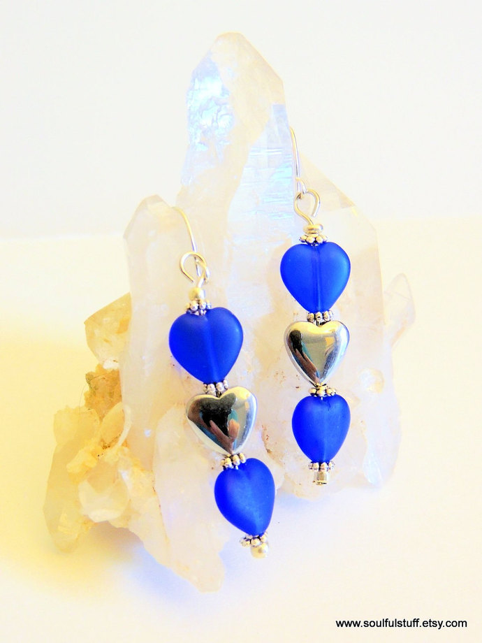 Heart Dangle Earrings, Hematite Earrings, Blue and Silver, Handcrafted Jewelry,