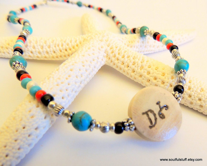 Water is Life Necklace, Seed Bead Necklace, Handcrafted Jewelry, Turquoise