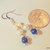 Freshwater Pearl and Lapis Earrings, Dangle Earrings, Blue and White, Gemstone