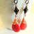Magnesite Briolette Earrings, Dangle Earrings, Red and Black, Copper or Niobium,