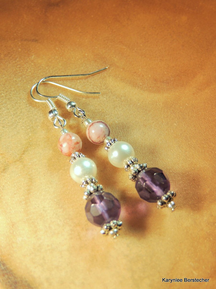 Amethyst and Pearl Earrings, Dangle Earrings, Amethyst and Lepidolite,