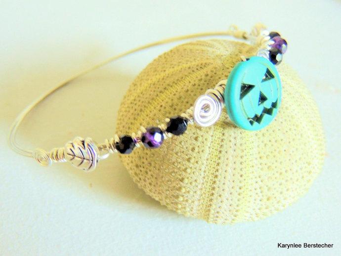 Halloween Bangle, Turquoise and Purple, Silver Wire Wrap Bracelet, Pumpkin