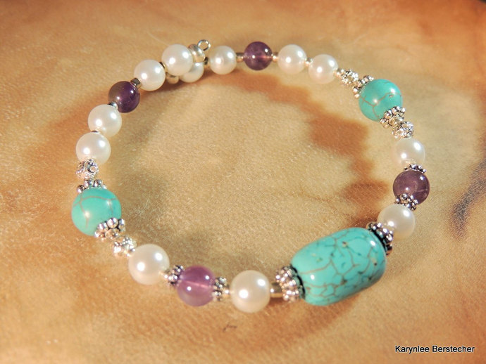 Turquoise and Amethyst Bangle, Turquoise and Pearl, Gemstone Jewelry,