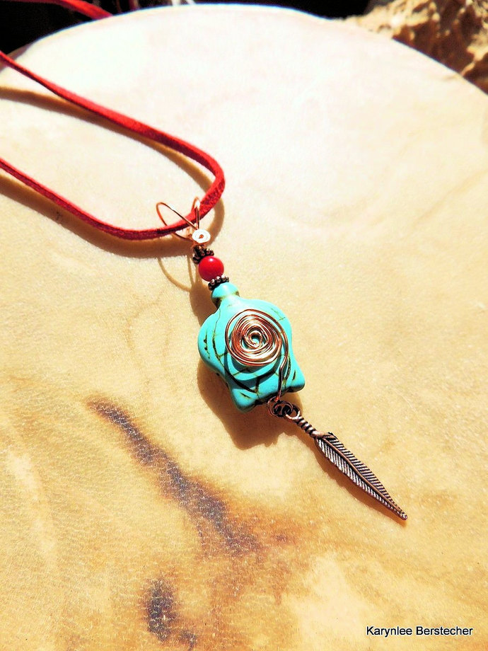 Turtle Pendant, Turquoise and Red, Native Style, Tribal Jewelry, Handcrafted
