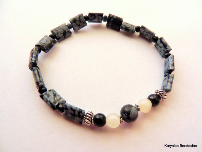 Snowflake Obsidian Men's Bracelet, Black and White, Native Style, Handcrafted