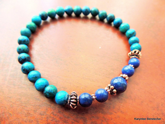 Lapis and Chrysocolla with Copper Men's Stretch Bracelet, Handcrafted Jewelry,