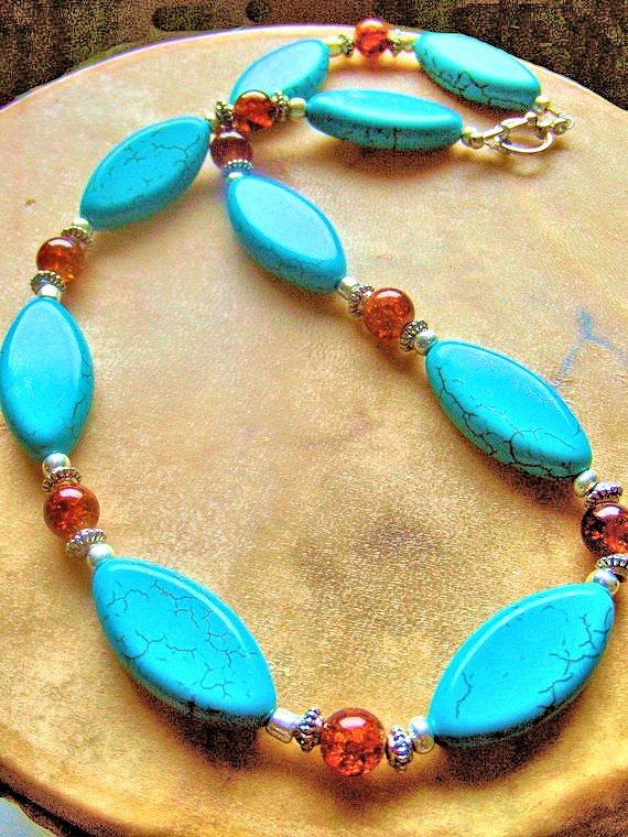 Turquoise and Orange Crackle Quartz Necklace, Western Jewelry, Native Style,