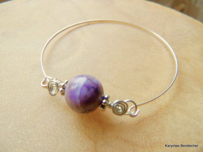 Dogtooth Amethyst Bangle, Purple and White, Silver Bangle, Handcrafted Jewelry,