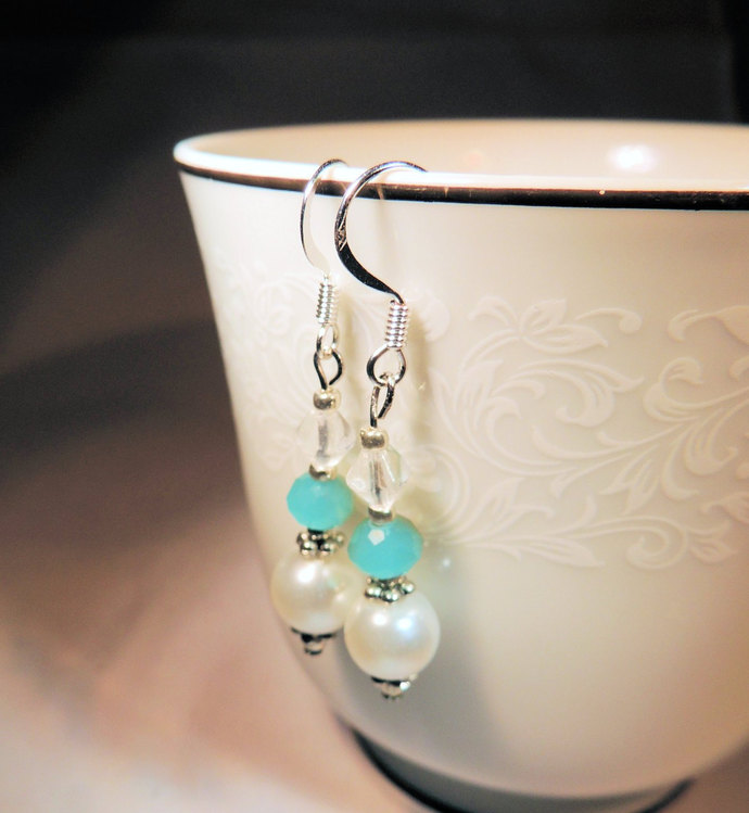 Pearl and Crystal Earrings, Turquoise and White Earrings, Handcrafted Jewelry,