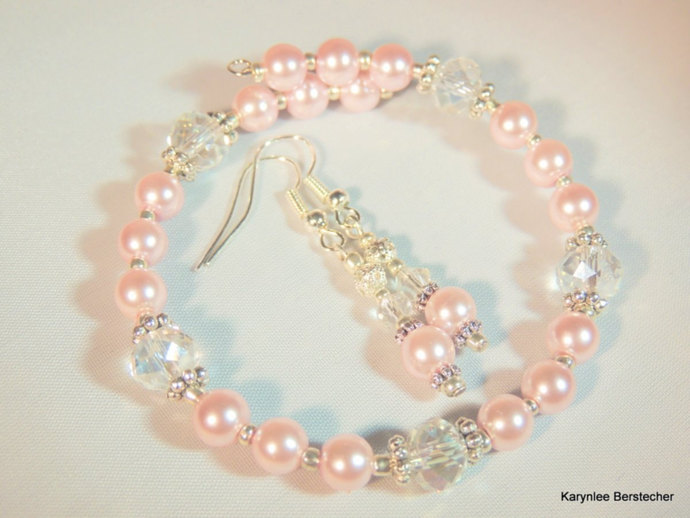 Pearl Bangle Bracelet and Earring Set, Choice of Colors, Pearl Jewelry,