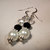 White Pearl Earrings, Dangle Earrings, Pearl and Crystal, Black and White,