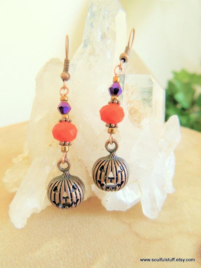 Pumpkin Earrings, Fall Jewelry, Halloween Jewelry, Jack-o-Lantern Earrings,