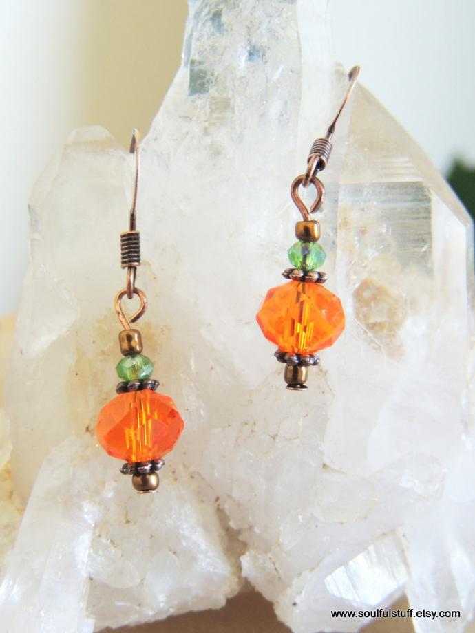 Pumpkin Earrings, Orange Crystal Earrings, Drop Earrings, Fall Jewelry, Copper
