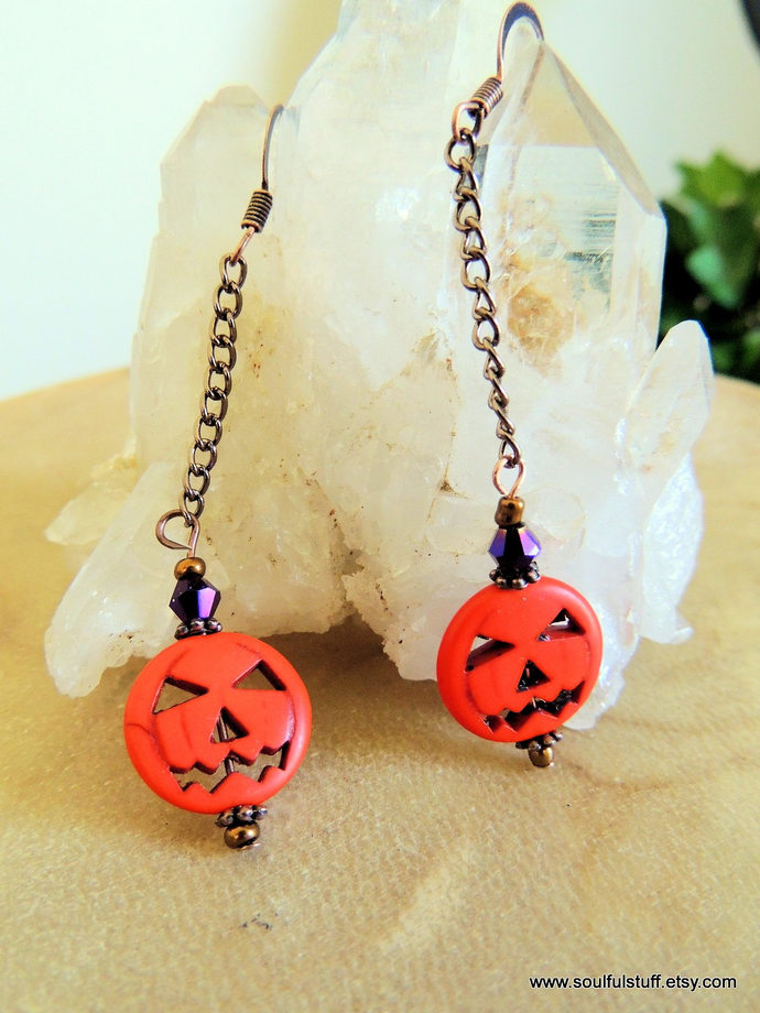 Pumpkin Earrings, Long Dangle Earrings, Jack-o-Lantern Jewelry, Rustic Jewelry,
