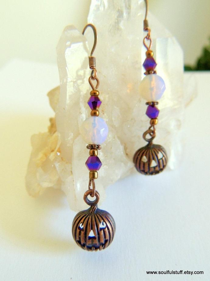 Pumpkin Earrings, Dangle Earrings, Jack-o-Lantern Jewelry, Halloween Jewelry,