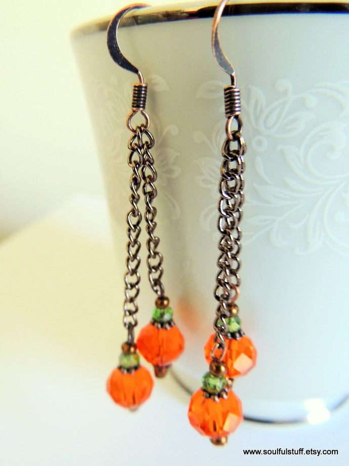 Pumpkin Earrings, Long Dangle Earrings, Copper Earrings, Handcrafted Jewelry,