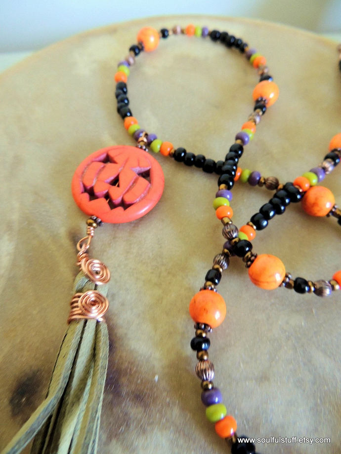 Pumpkin Tassel Necklace, Long Necklace, Halloween Jewelry, Halloween Costume,