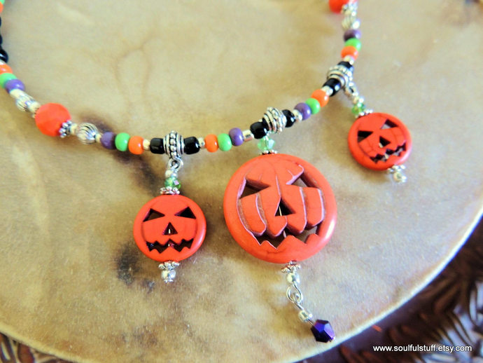 Pumpkin Necklace, Halloween Jewelry, Jack-o-Lantern Necklace, Handcrafted