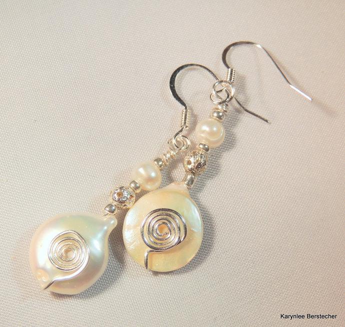 Freshwater Pearl Earrings, Silver Earrings, Dangle Earrings, Wedding Earrings,