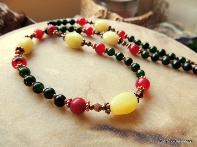 Jade and Bloodstone Necklace, Gemstone and Copper Jewelry, Red and Green,