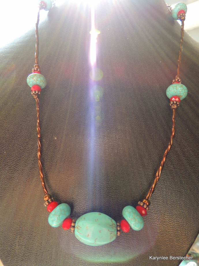Turquoise and Copper Necklace, Native Style, Turquoise and Red Gemstone