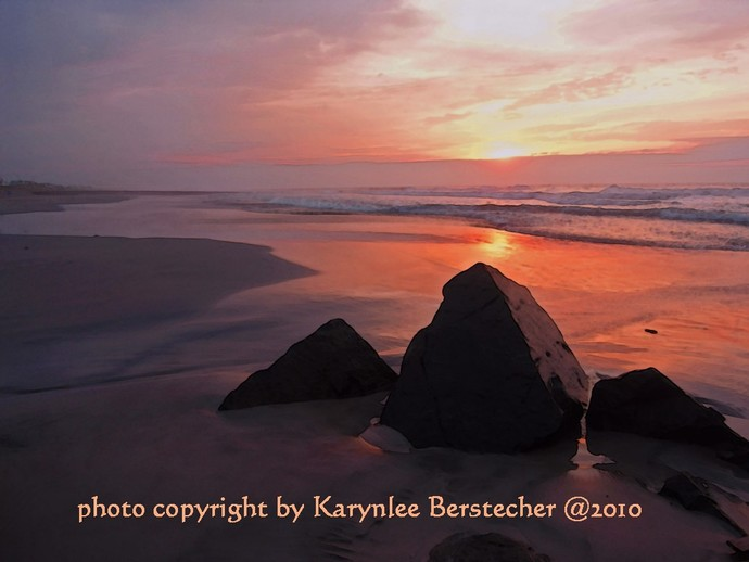 Sunrise Photography, Matted Art Photography, Beach Photography, Red and Orange,