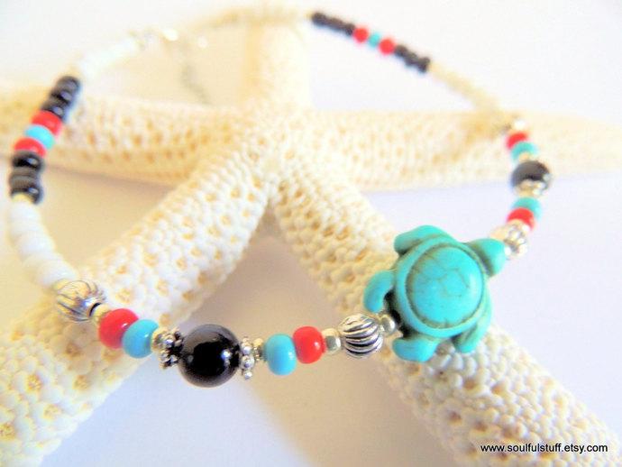 Turtle Anklet, Native Style Anklet, Ankle Bracelet, Boho Jewelry, Summer