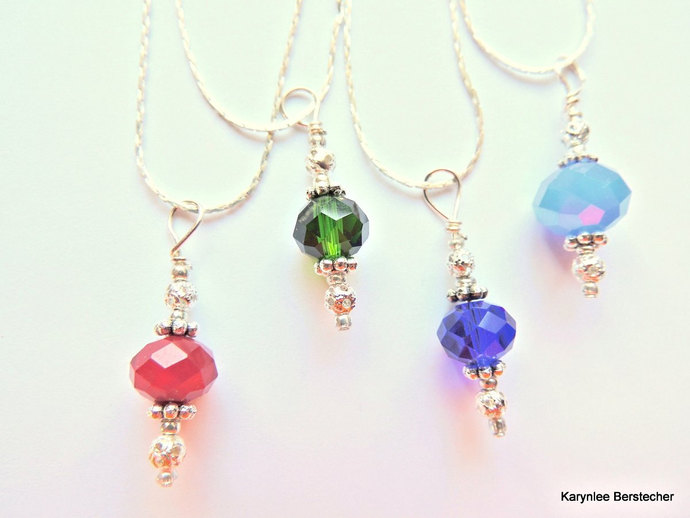 Crystal Pendant, Handcrafted Jewelry, Silver Wire Wrap, Gift under 20, Stocking