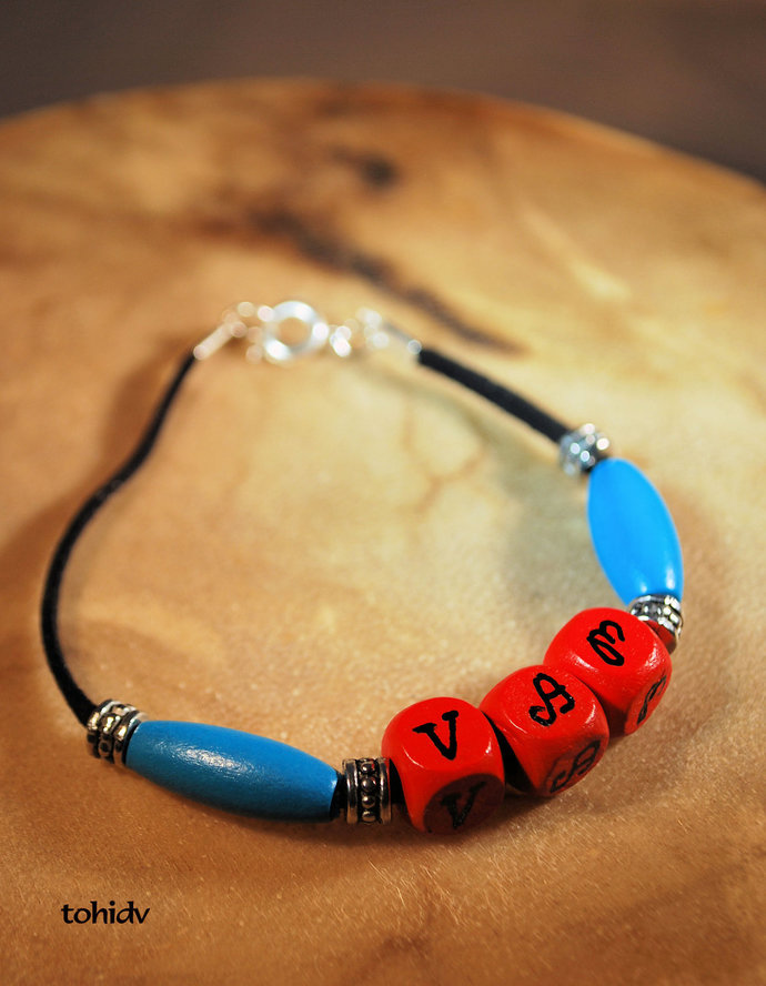 Native Style Bracelet, Cherokee Language, Turquoise and Red, Handcrafted
