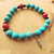 Turquoise and Red Stretch Bracelet, Native Style, Men's Bracelet, Feather