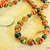 Autumn Porcelain and Green Jade Necklace, Orange and Green, Handcrafted Jewelry,