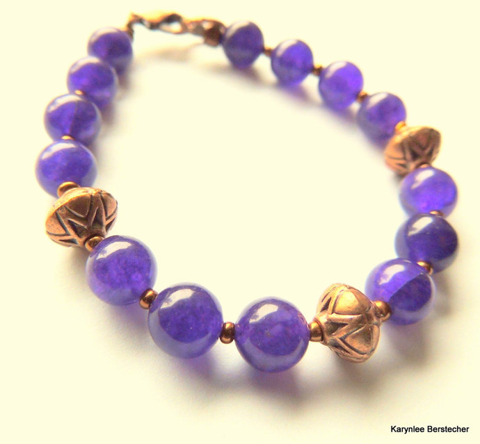 Blue Aventurine and Copper Bracelet, Handcrafted Jewelry, Purple and Copper,