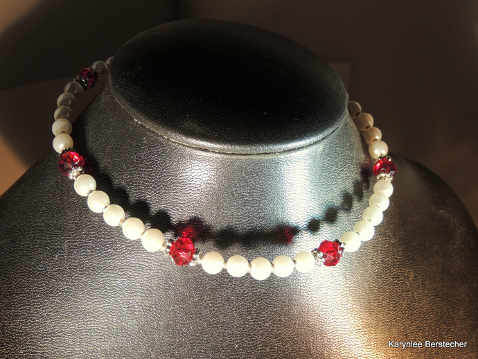 Jewelry Gift Set,Pearl and Garnet Crystal, Memory Wire Jewelry, Choker and