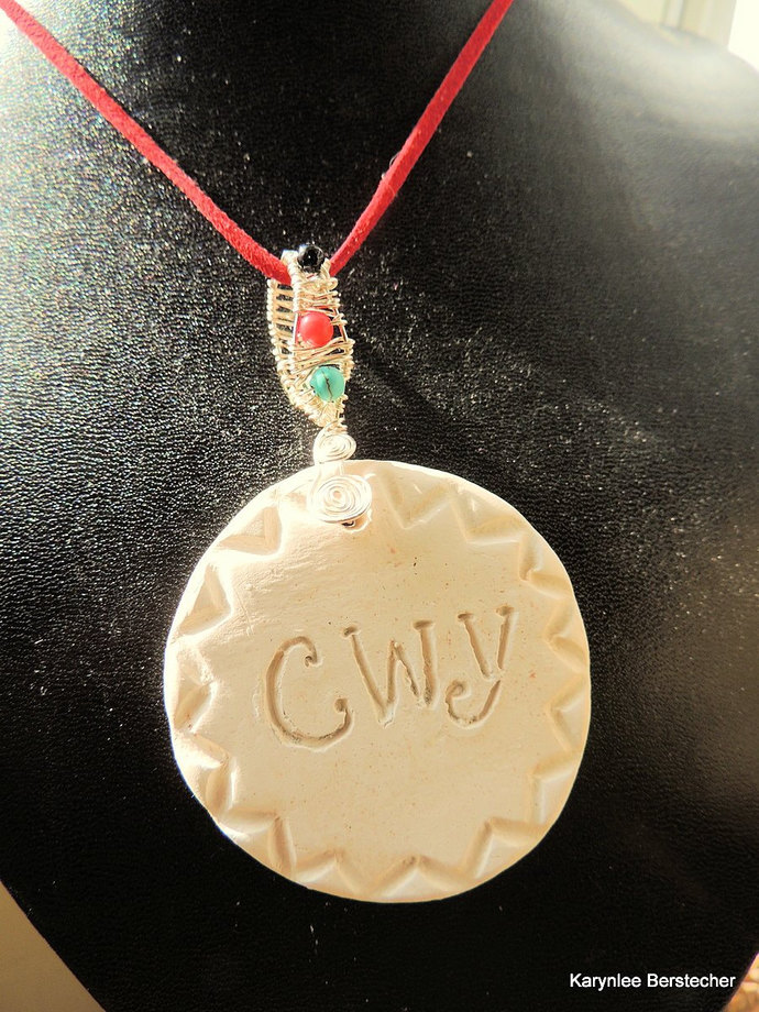 Proud to Be Cherokee Pendant, Pottery Clay Pendant, Tsalagi Jewelry, Cherokee