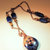 Sodalite Pendant Necklace, Copper Wire Wrap, Blue and Copper, Sodalite and Shell