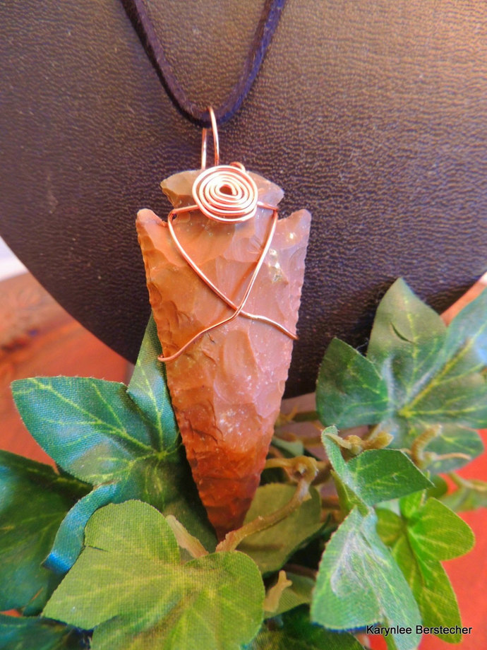 Men's Arrowhead Pendant, Copper Wire Wrap, Native Style, Hippie Jewelry,
