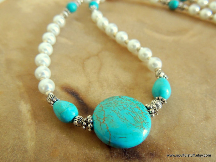 Turquoise and Pearl Necklace, Handcrafted Jewelry, Rustic Wedding, Turquoise