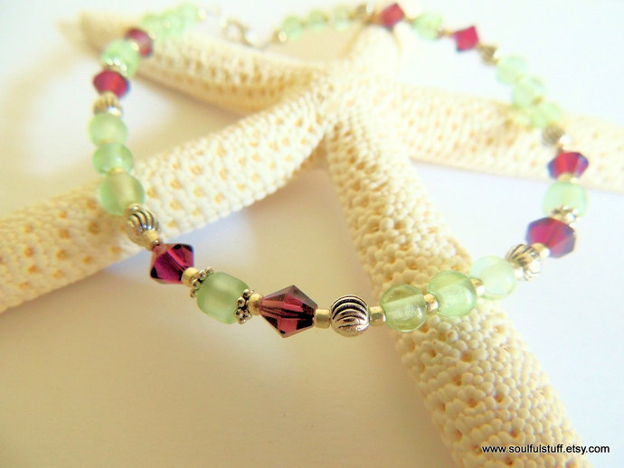 Peridot and Amethyst Anklet, Ankle Bracelet, Purple and Green, Handcrafted