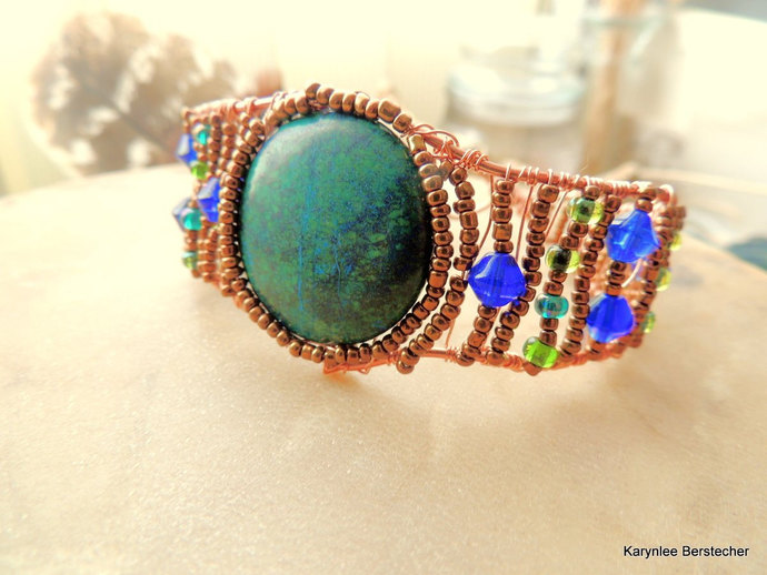 Copper Wire Wrapped Chrysocolla Bracelet Cuff, Native Inspired Bracelet Cuff,