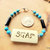 Tribal Bracelet, Cherokee Language, Turquoise Jewelry, Turquoise and Black,