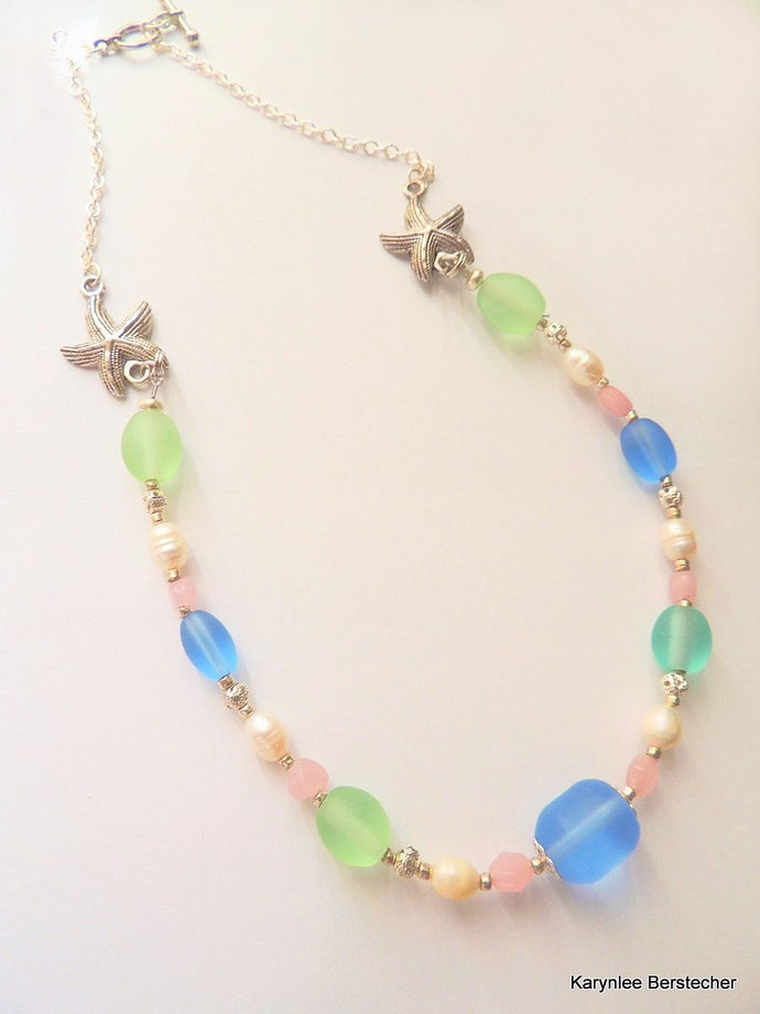 Freshwater Pearl Necklace, Starfish Jewelry, Handcrafted Jewelry, Summer