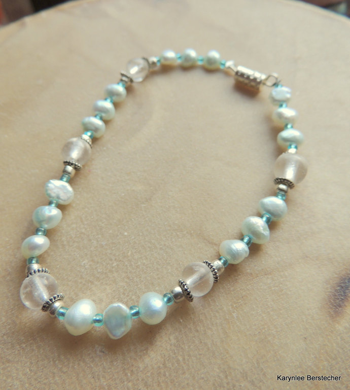 Turquoise Freshwater Pearls with Crystal Bracelet, Turquoise and White Bracelet,