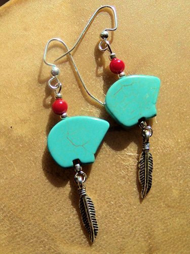 Bear Earrings, Dangle Earrings, Turquoise and Red, Turquoise Jewelry, Native