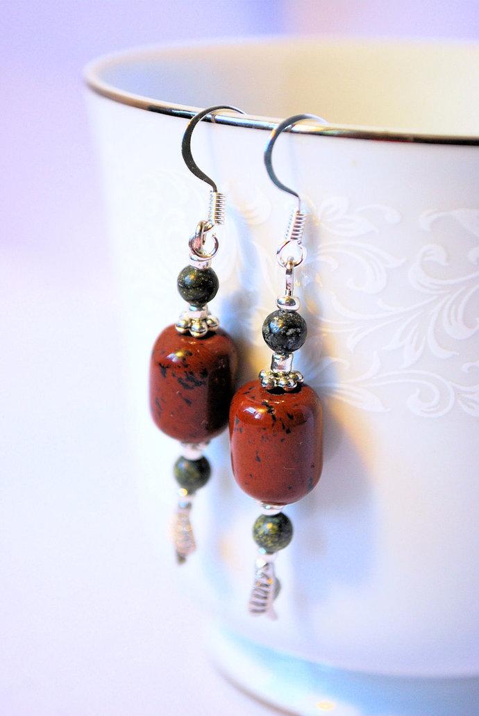 Mahogany Obsidian and Mossy Jasper Earrings, Leaf Earrings, Gemstone Jewelry,