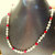 White Pearl and Fiery Red Czech Glass Crystal with Sterling Silver Filigree