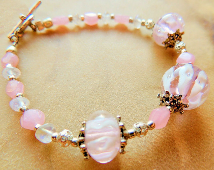Lampwork Bracelet, Moonstone Bracelet, Pink and White, Handcrafted Jewelry,