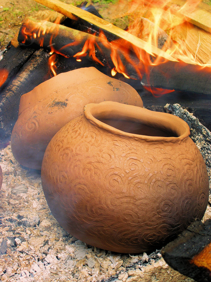 The Potter's Fire---Native Inspired Clay Rustic Pottery Inspirational Fine Art