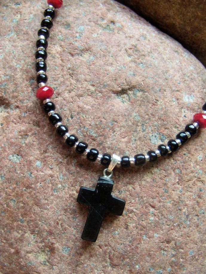 Cross Pendant, Black and Red, Black Onyx Jewelry, Seed Bead Necklace, Unisex