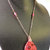 Red Howlite Pendant, Red Necklace, Copper Wire Wrap, Long Necklace, Handcrafted